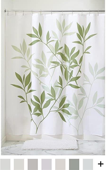 Amazon.com: InterDesign Leaves Long Shower Curtain, Green, 72-Inch ...