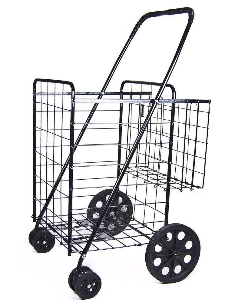 Foldable Shopping Cart Durable Rubberized Swivel Wheels & Extra Basket, Jumbo Size Utility Cart
