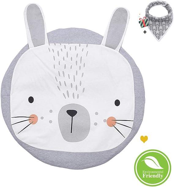 Big Bear runder Teppich Heimdekoration Cozyhoma Runder Teppich f/ür Kinder Spielteppich Decke f/ür Kinderzimmer Boden-Spieldecke Cartoon-Tier 100 x 100 cm Baby-Krabbeldecke Kaninchen-Design