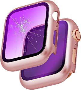 Deeplus For Apple Watch Series 6 / SE 44mm Screen Protector, Apple Watch Case Face Cover Bumper With Blue Light HD Temper Glass For Iwatch Series 5/4 (Rose Gold, 44mm)