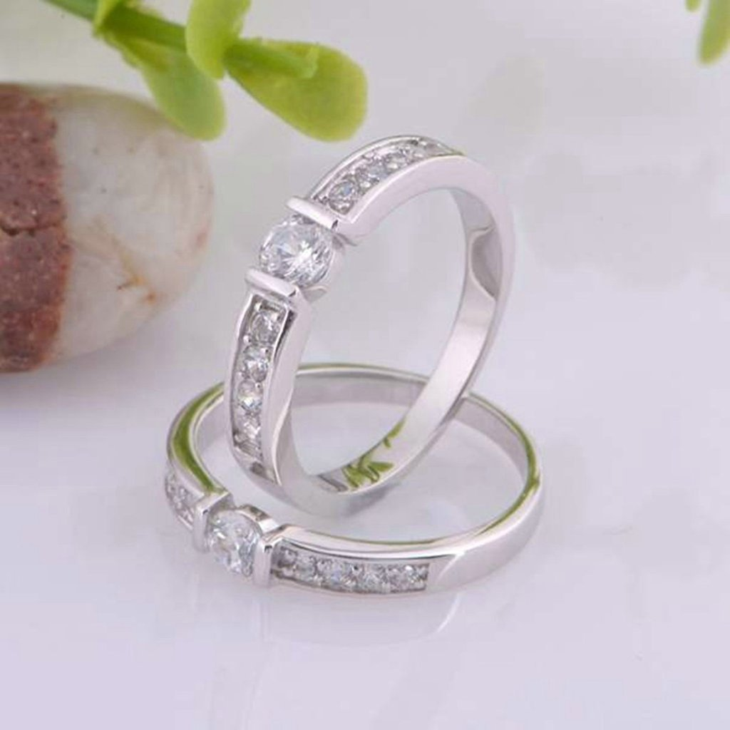 Gnzoe Women Men Silver Plated Wedding Band Princess Cut CZ Ring For Wife Husband 3.5mm//4mm Price One Pc