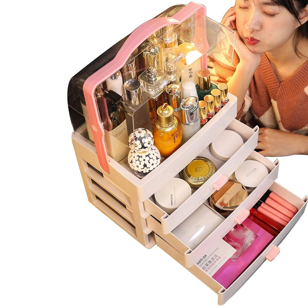 Acrylic Makeup Organizer with Handle, Dust Cover/Jewelry and Cosmetic Organizer Set, Top Slot and 3 Drawers (Color : White, Size : 30cm × 20cm × 46.5cm)