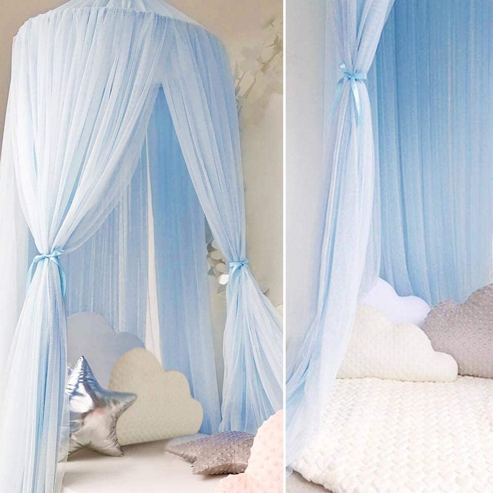 Ivyode Kids Mosquito Net Bed Canopy,Children Dome Fantasy Round Dome Netting Curtains Bed Canopy Play Tent with Round Lace,Bed Canopy for Girls//Boys//Baby Games House