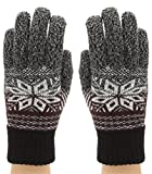 MIRMARU Men's Premium Wool Blend Knitted Winter Gloves with Inner Lining(G03-Charcoal)