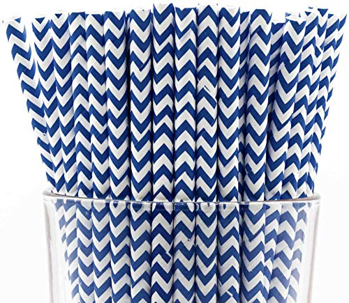 Pack of 150 Biodegradable Navy Blue Chevron Paper Drinking Straws (Compostable, Non-toxic, BPA-free)]()