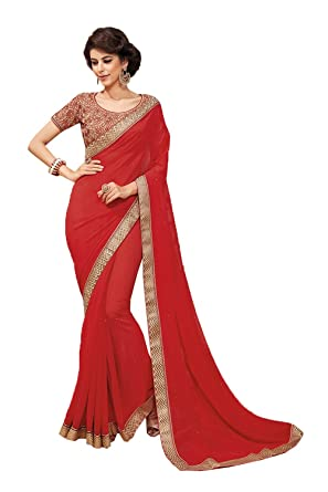 914c09a2d884e1 Amazon.com: Indian Fashion Indian Women Designer Party wear red Color Saree  Sari K-4788-42335: Clothing