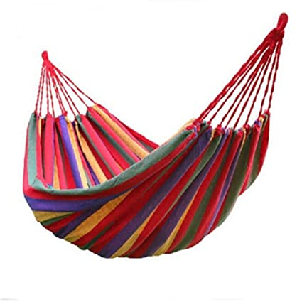 MODERN INNOVATOR Portable Outdoor Garden Canvas Fabric Hammocks Striped Ultralight Beach Camping Swing Bed Strong Rope