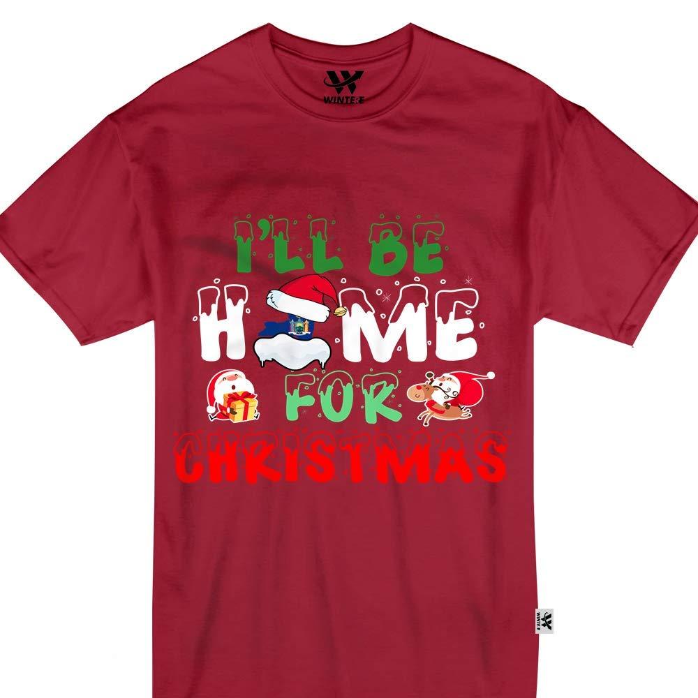 York Ill Be Home For Christmas Usa States Santa Claus Tshirt