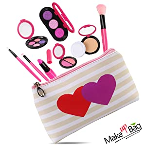 AMOSTING Pretend Makeup Toys for Girls Play Cosmetic Set Make Up Bag for Kids