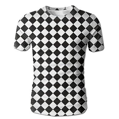 Amazon com: GCVBUO Chess Checkerboard Casual Round Neck