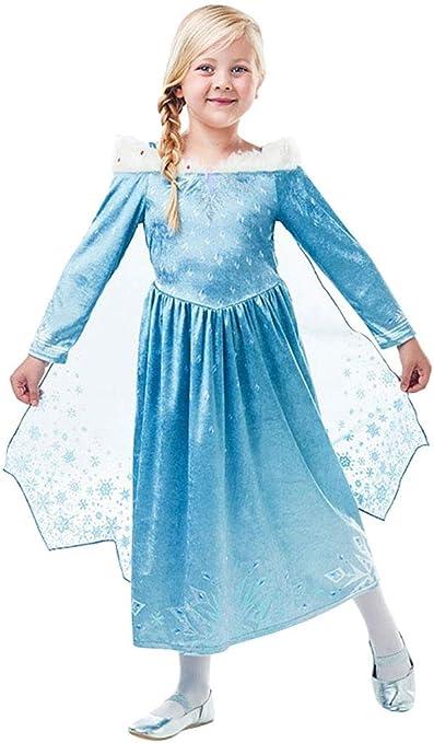 Frozen - Disfraz de princesa Elsa Deluxe para niña, infantil 5-6 ...