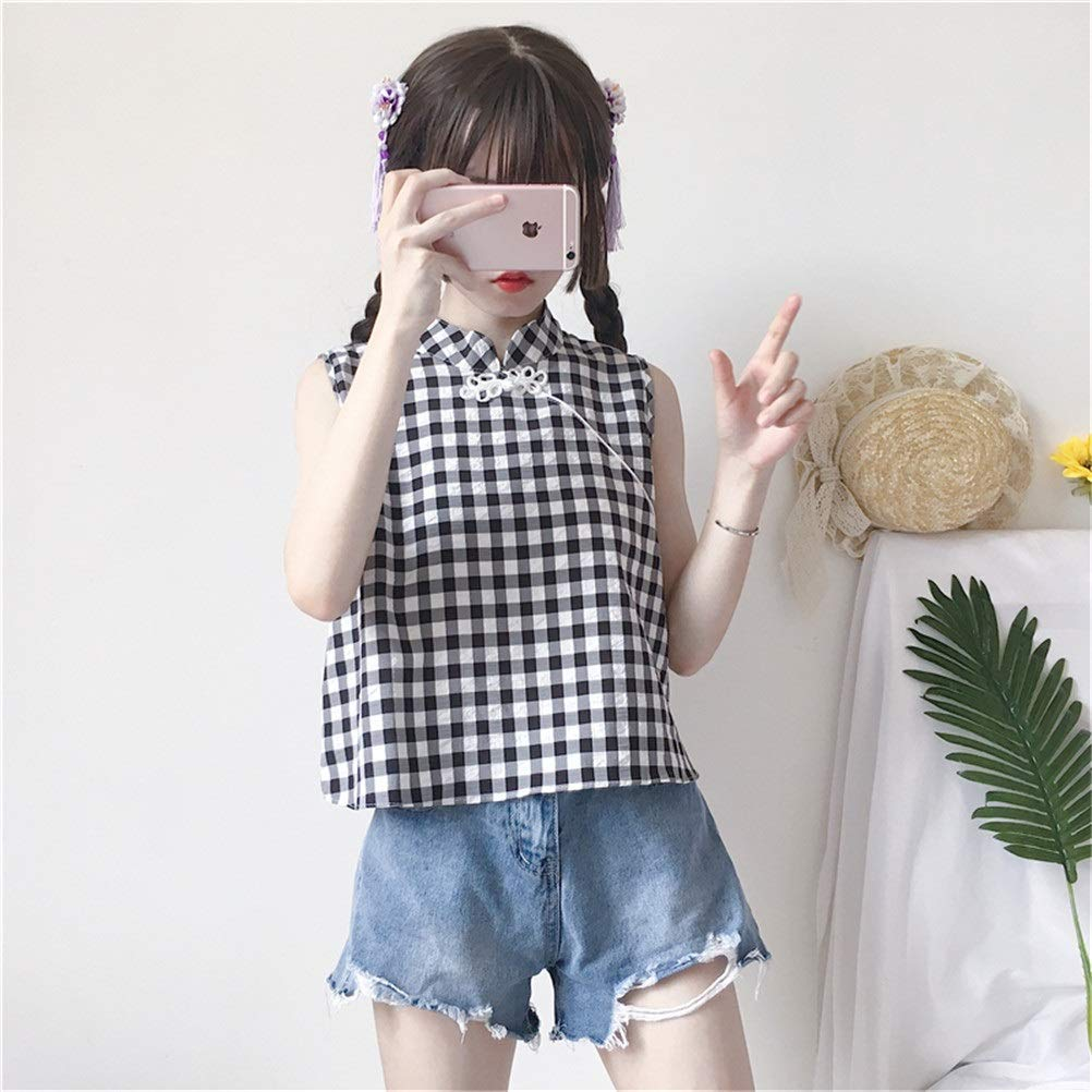 YAXAN Tops Womens Plaid Cute Cheongsam Unique Sleeveless Short Style with Button Summer Clothes Basic Strap Vest