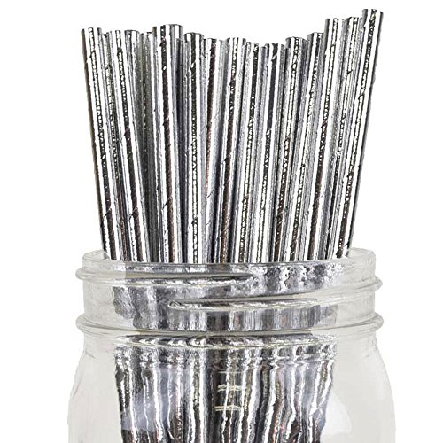 (Just Artifacts Decorative Solid Paper Straws (100pcs, Solid, Metallic Silver))