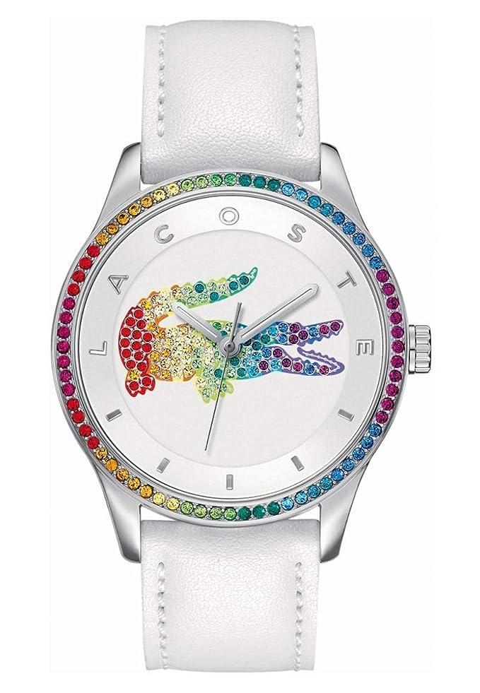 Lacoste 2000822 - Reloj análogico de cuarzo con correa de cuero para mujer, color blanco/plateado