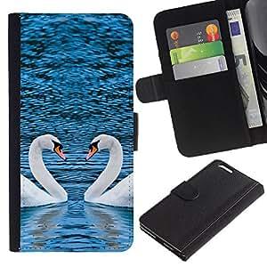 ULTIX Cases / Apple Iphone 6 PLUS 5.5 / PICTURESQUE TWO SWANS HEART / Cuero PU Delgado caso Billetera cubierta Shell Armor Funda Case Cover Wallet Credit Card
