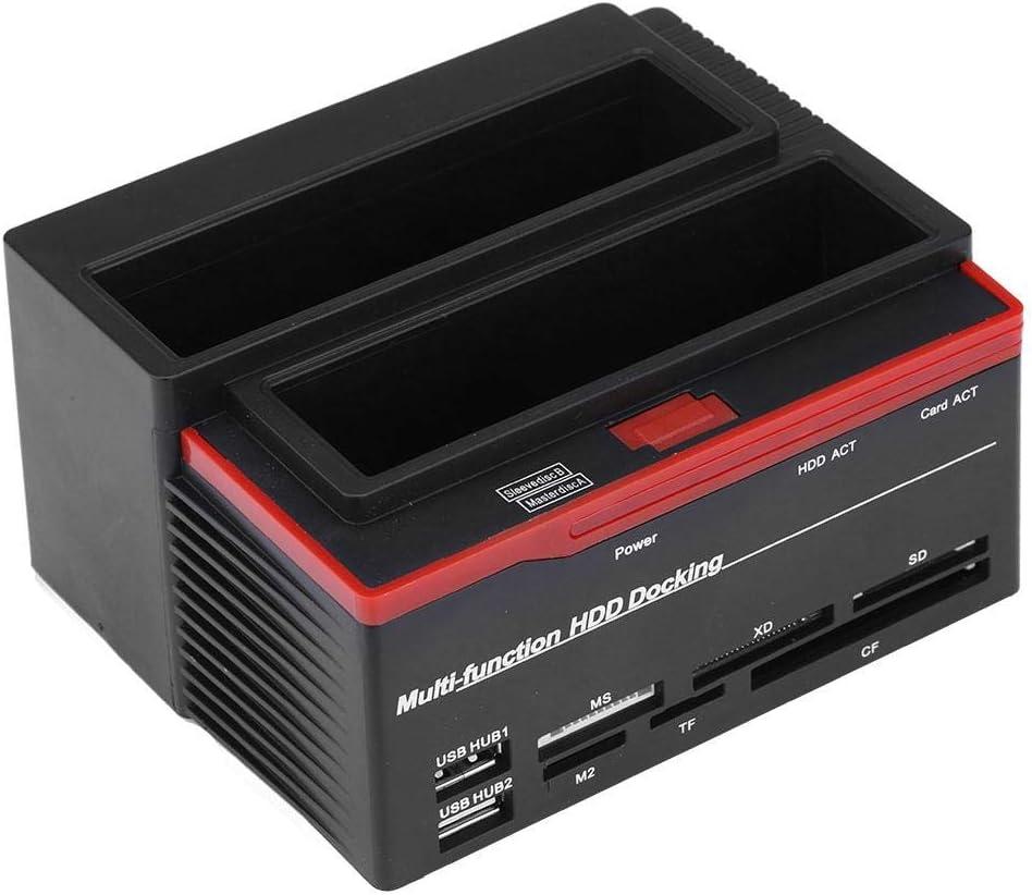 Dual-Bay 2.5//3.5 Hard Drive Dock Station IDE HDD Enclosure Docking Dock Station USB2.0 Hub Card Reader