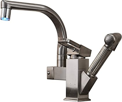 Brushed Nickel Kitchen Sink Faucet Pull Out Sprayer Swivel Spout Mixer Tap
