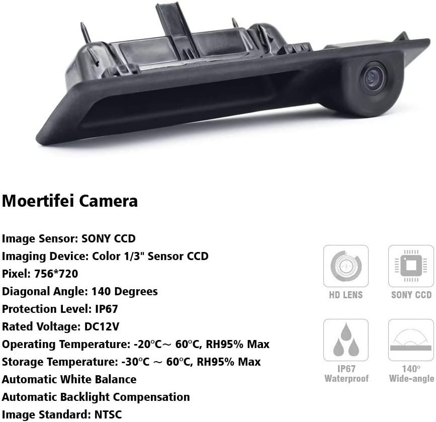 Moertifei Car Trunk Handle Rear View Camera Reverse Parking Backup fit for 2007-2013 BMW X5 X6 E70 E71