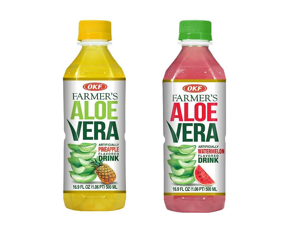 OKF Farmer's Aloe Vera Drink, Pineapple and Watermelon, 16.9 Fluid Ounce (Pack of 20 each)