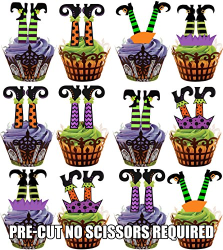 PRE-CUT Halloween Witches Legs - Edible Cupcake Toppers / Cake Decorations (Pack of 12) (7 - 10 BUSINESS DAYS DELIVERY FROM UK)
