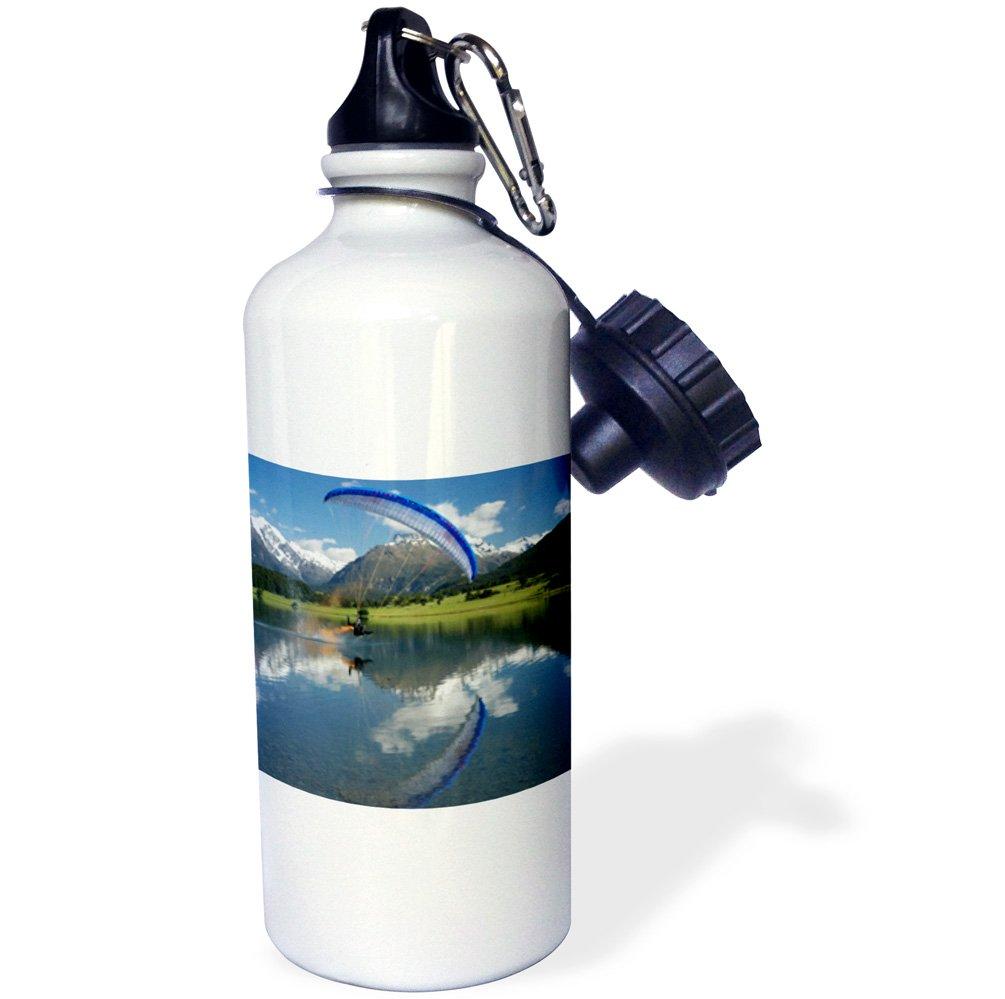 3dRose wb_71725_1 ''Paramotor, extreme sport, Diamond Lake, New Zealand-AU02 DWA4633 David Wall'' Sports Water Bottle, 21 oz, White by 3dRose