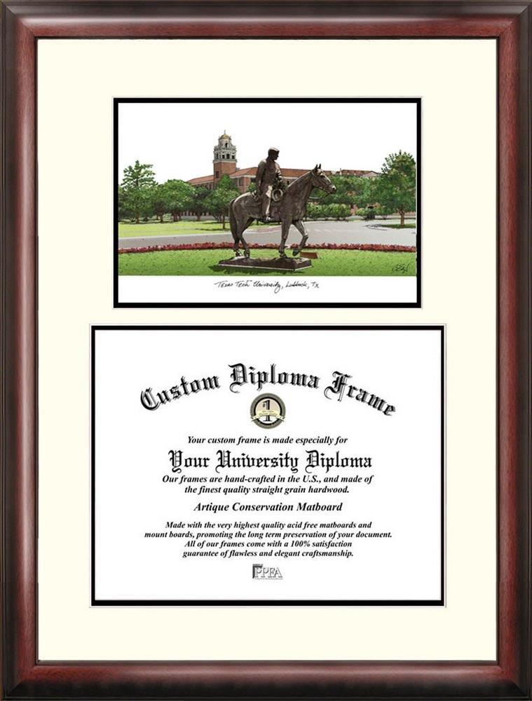 Landmark Publishing Texas Tech Red Raiders Mahogany Diploma Frame /& Lithograph
