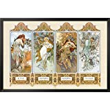 The Four Seasons Framed Poster by Alphonse Mucha 38 x 26in
