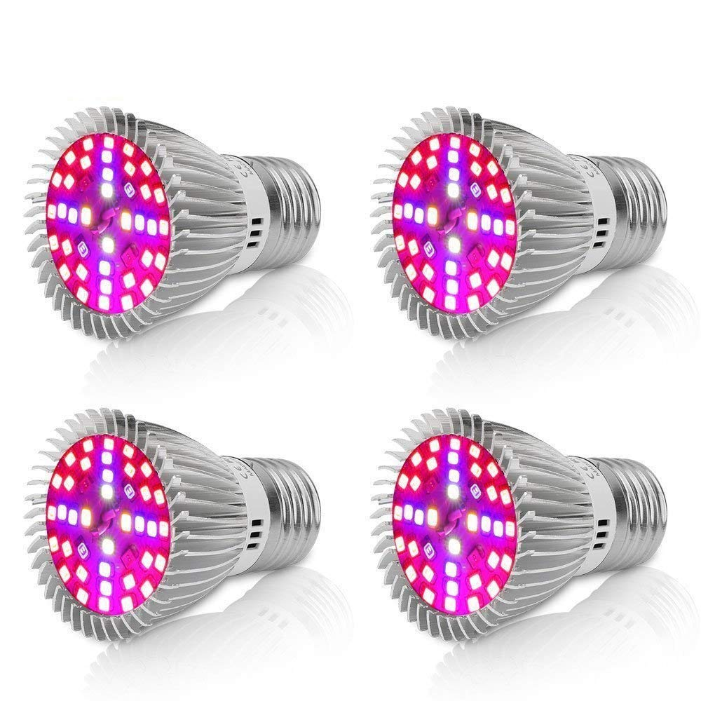 EnerEco Led Grow Light Bulb, 40W 2835 SMD Chips Full Spectrum UV IR E27/E26 Base Grow Plant Lights Lamp for Flowering Lighting Indoor Plants Vegetables Hydroponic System Greenhouse Organic[Pack of 4]