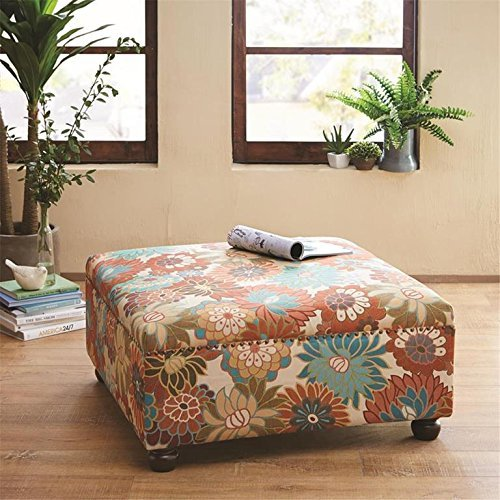 Madison Park FPF18-0241 Floral Reese Cocktail Square Ottoman, See Below, Multi
