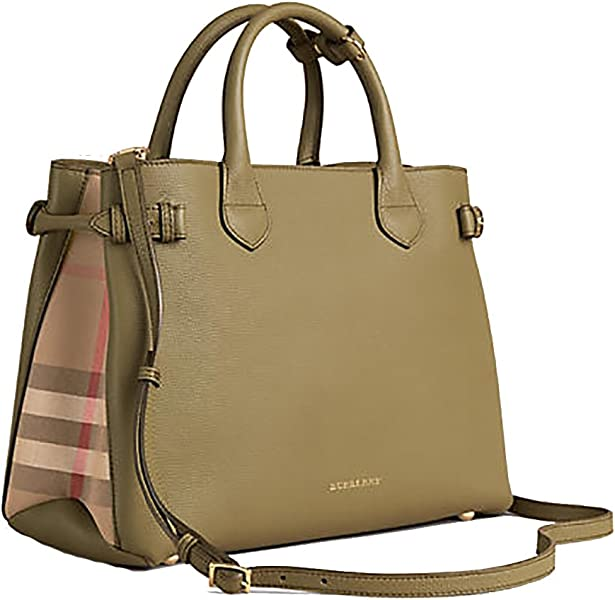 d9ac9292472b Amazon.com  Tote Bag Handbag Burberry Medium Banner in Leather and House  Check PALE PISTACHIO GREEN Item 39970611  Shoes