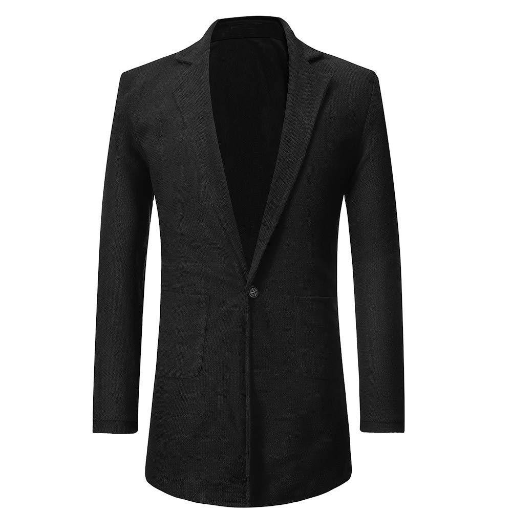 GREFER Men Winter Plus Size Jacket Long Sleeve Warm Single Button Pocket Solid Coat Outwear by GREFER