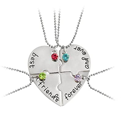 2392017a70dc4 Yee Yeung Best Friend Forever and Ever Set of 4 Pieces Heart Shape Pendant  Friendship Puzzle Necklace
