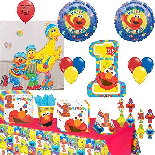 Sesame Street Party Supplies Elmo, Big Bird. Cookie Monster Birthday Tableware and Balloon Decoration Kit ()