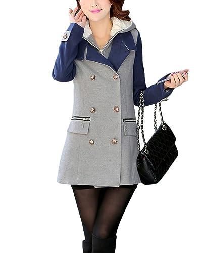 Mujeres Abrigo con Capucha Chaquetas Capa Chamarra Doble para Otoño Invierno Coat Jacket