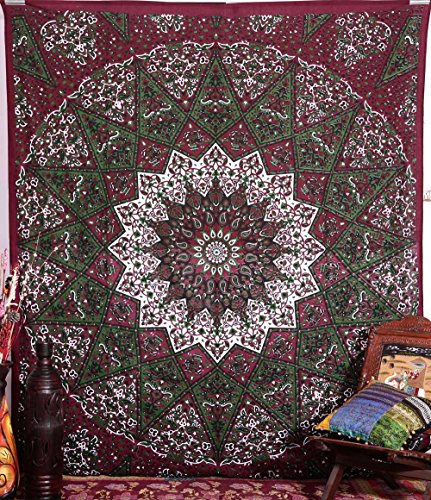 Handicrunch  Hippie Star Tapestries , Psychedelic Tapestry ,Sun and Moon Tapestry,bohemian Mandala Tapestries, Throw Bedspread Queen Bed Dorm Decor