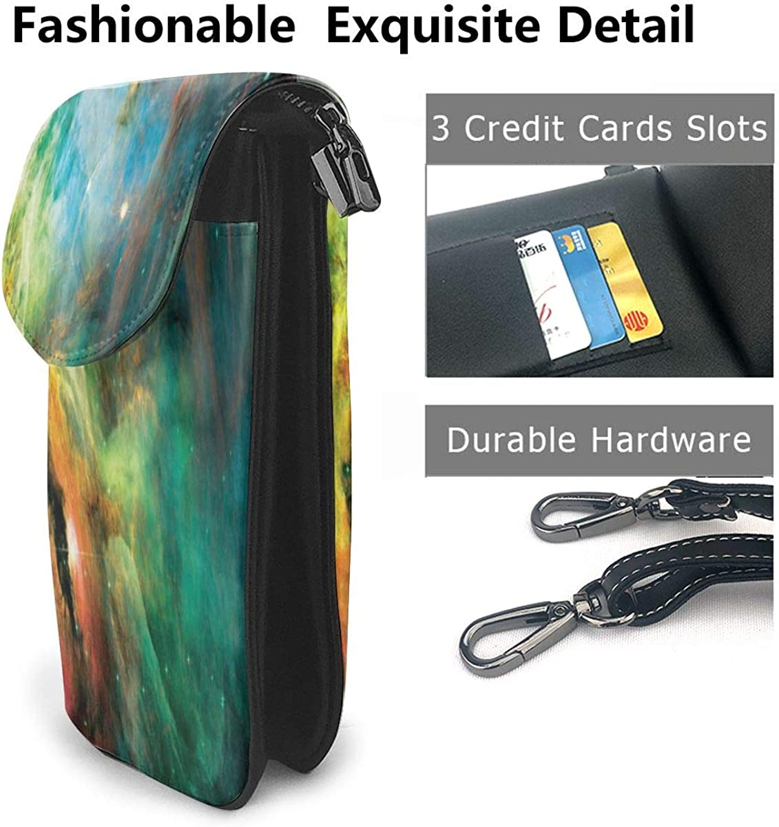 Cell Phone Purse Rainbow Orion Nebula Crossbody Bag Womens Lightweight Portable Small Wallet Waterproof PU Leather Mini Shoulder Bag Easy Care Phone Wallet For Shopping Date Hiking