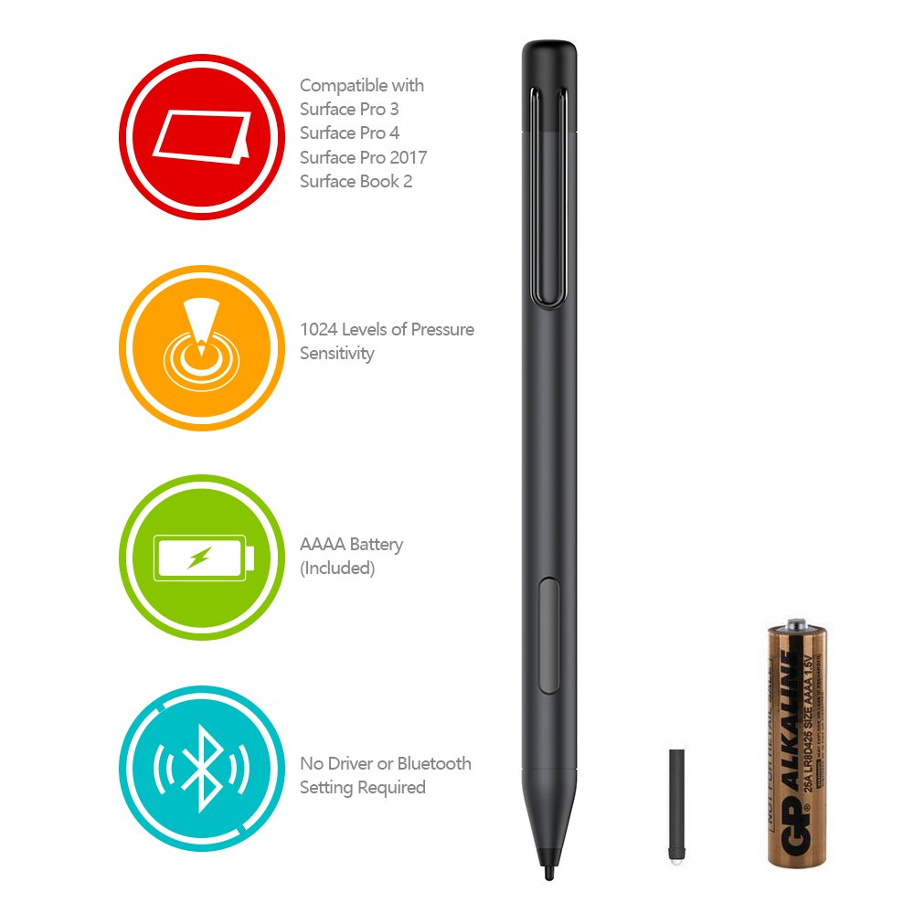 Surface Pen, Surface Stylus Pen with 1024 Levels of Pressure Sensitivity and Aluminum Body for Microsoft Surface Pro 2017, Surface Pro 4, Surface Pro 3, Surface 3/Including AAAA Battery and 2 Pen Tips