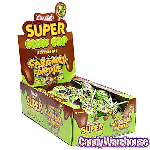 Charms Super Blow Pops - Caramel Apple - Halloween Candy - 48 Piece Box ()