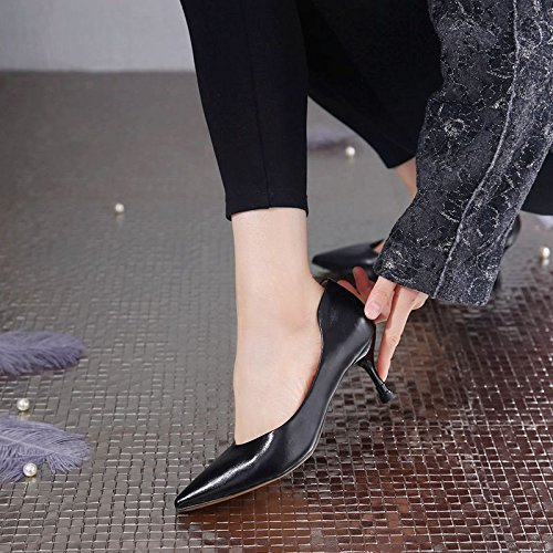 Trabajo Un Siete Black Y Spring Una Treinta Con Zapatos 6 GTVERNH Plain Shoes Nude Cm Con De Temperamento Damas Zapatos Simple De Multa Zapatos FUxdwfBq