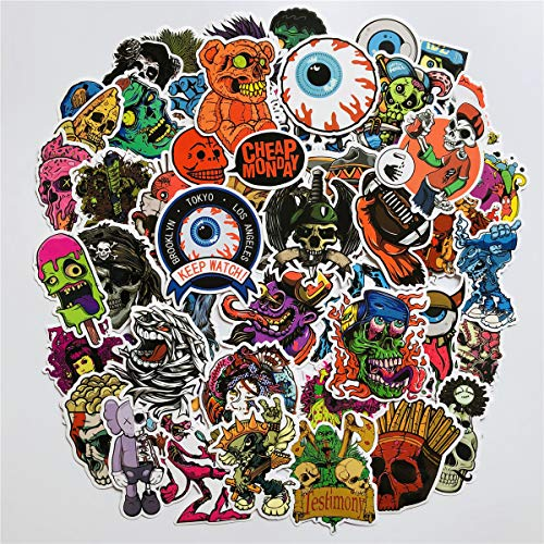 50 PCS No-Repeat Halloween Stickers Waterproof Vinyl Scary Horror Stories Stickers Skull for Personalize Laptop Car Helmet Skateboard Luggage Graffiti Decals (1) ()