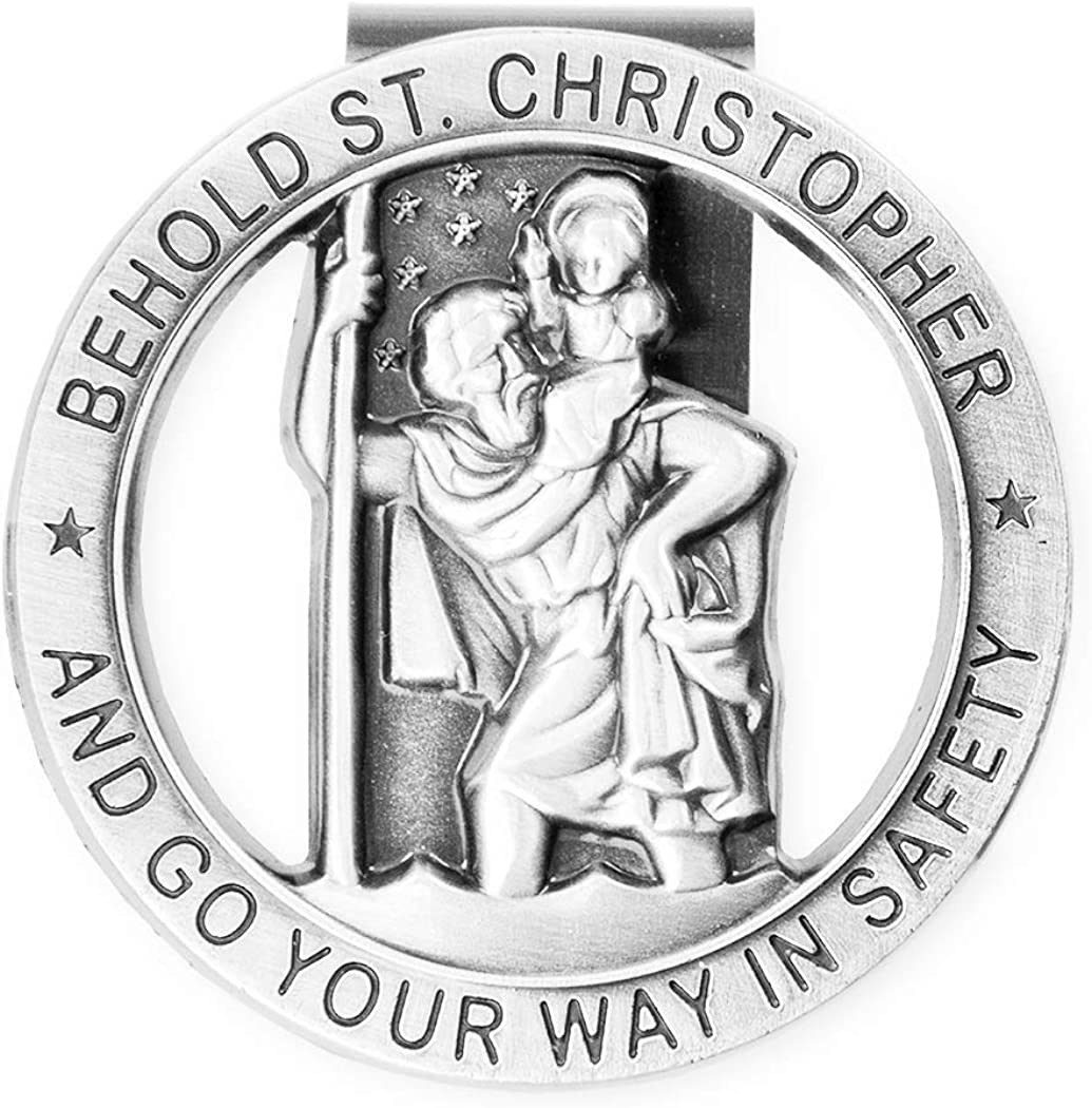Rosemarie Collections Religious St Christopher Medal Auto Visor Clip Go Your Way in Safety