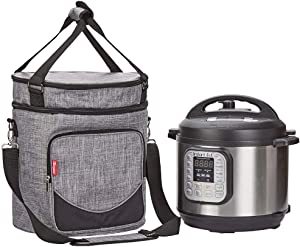 NICOGENA Carrying Bag for Instant Pot Pressure Cooker 6 Quart, 2 Compartments Travel Tote Case for Cooker Accessories, Grey (BAG ONLY)