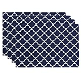 ColorBird Geometric Series Moroccan Place Mat Waterproof Spillproof Microfiber Fabric Table Doily Placemats, 13 x 19 Inch (Set of 4, Navy Blue)