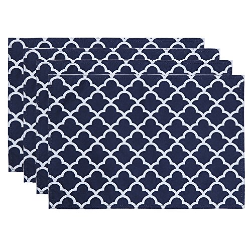 ColorBird Geometric Series Trellis Place Mat Waterproof Spillproof Microfiber Fabric Table Doily Placemats, 13 x 19 Inch, Set of 4, Navy ()