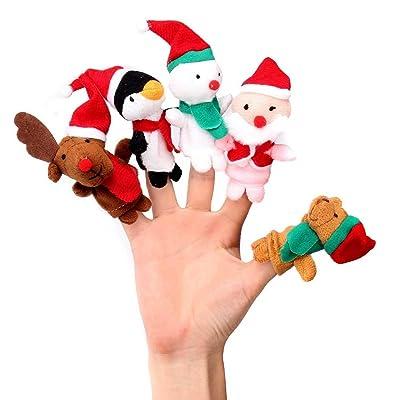 Espeedy Dedo juguetes,5pcs/set marionetas dedo juguetes Navidad Santa Claus muñeco de nieve bebé historias ayudantes dedos niños regalo de Navidad: Hogar