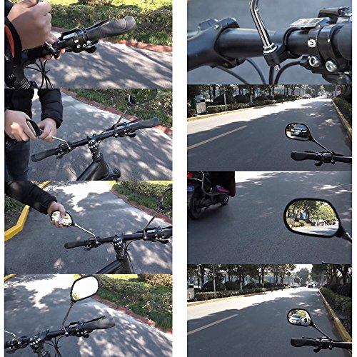 kimo 2 Pcs 360° Rotate Adjustable Universal Handlebar Rear View Mirror For Bike Bicycle Cycling Black by kimo (Image #5)