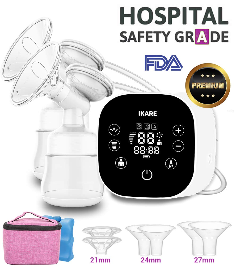 IKARE Double Electric Breast Pumps Hospital Grade, Portable Strong Suction Breast Pump, with Smart LED Touch Screen, Insulated Cooler Bag and Ice Pack, 3-Sized Breast Feeding Shields, Super Quiet