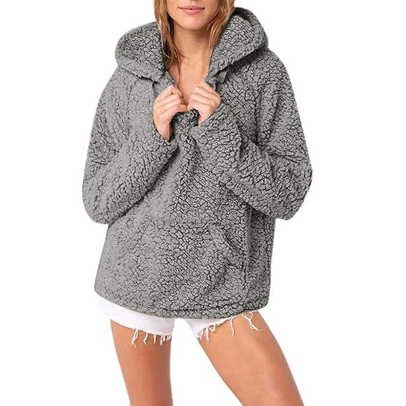 413c3199a4f7 Damen Kapuzenmantel Winter LSAltd Damen Vintage Warm Kapuzenpullover Casual  Pocket Langarm Hoodie Mantel Pure Farbe Sweatshirt
