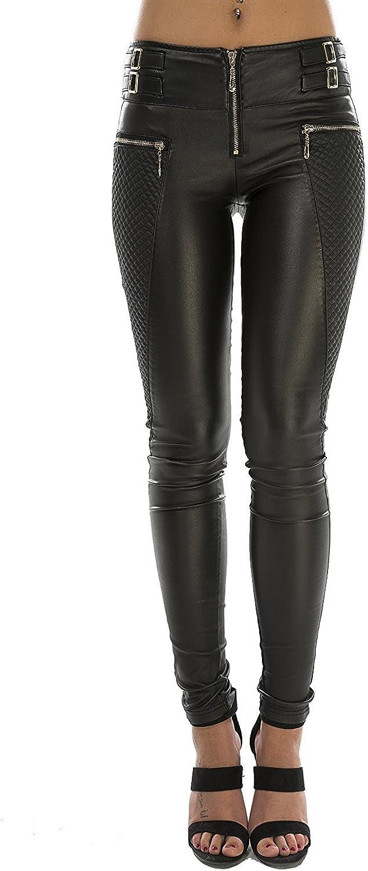 Crazy Lover Mujeres PU Leggins Cuero Brillante Pantalón Elásticos Pantalones para Mujer