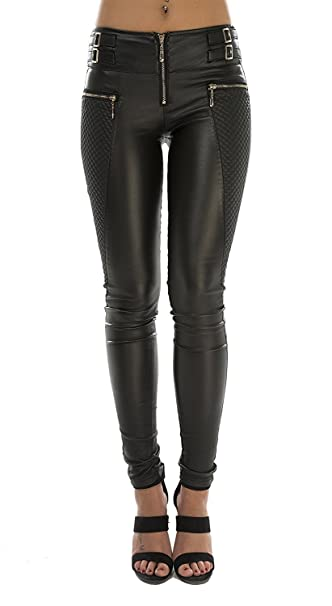 6c4698647afff Crazy Lover New Ladies Women Black Faux PU Leather Leggings Jeggings  Trousers Gold Zips Size UK 6-14  Amazon.co.uk  Clothing